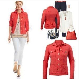 cAbi Women's Orange Denim Jacket - Small NWT